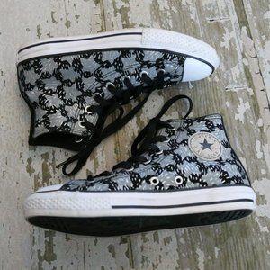 Converse Hi Top Black Gray Canvas Shoes US 3 EU 35